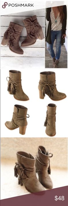 "⭐️LAST SIZES!⭐️NIB Taupe Wrap Tassel Booties NIB Taupe Wrap Around Tassels Ankle Booties. These boho beauties are just what your fall wardrobe is asking for! A rich vegan suede upper with wrap around tassel ties can be tied to your preference. Stacked wooden heel, pull on style, lightly padded sole for comfort. Fits true to size. Heel approx 3"", circumference approx 11.25"". Shaft height approx 5"" from arch. 🚫No Trades and No Paypal🚫Available in 5.5, 6, 8.5. PRICE IS FIRM, but can…"
