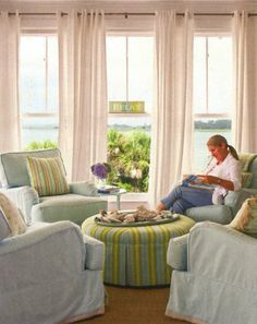 This configuration would be so great in my front reading room - love these colors too!