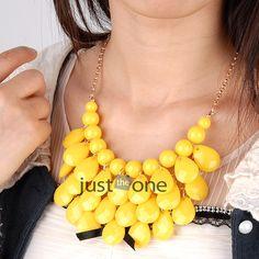 Women Bubble Bib Statement Chain Choker Trendy Necklace Bead Alloy Plastic Resin   eBay