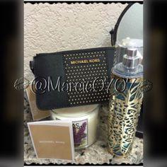 Micheal Kors wristlet Black with gold beading, zipper and emblem Michael Kors Bags Clutches & Wristlets