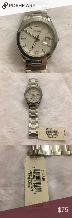 Fossil Perfect Boyfriend Stainless Steel Watch Fossil watch from the perfect boyfriend collection. Stainless steel with a 39mm case and water resistant 5 ATM. Brand new with tags. Fossil Accessories Watches