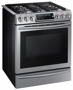Samsung   Self Cleaning Slide In Gas Convection Range   Stainless Steel