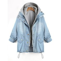 Convertible Two Piece Plus Size Denim Coat (395 ZAR) ❤ liked on Polyvore featuring outerwear, coats, denim coats, plus size coats, blue coat, plus size denim coats and womens plus coats