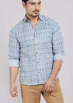 Block printed cotton shirts tops and shirt BS Each 4 This shirt is constructed from a handle cotton with block prints pattern .This cotton shirts ensure comfort and fit that easily outshines others.*classic collar shirt *semi formal shirt *Full sleeves *Front buttoned **roll up sleeves.