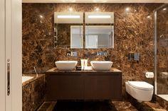 Dark Emperador marble bathroom