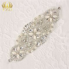 Aliexpress.com : Buy (30pieces) Sewing On Hot Fix Rhinestones Sliver Crystal Beaded Appliques Wholesale for Wedding Dresses Bridal Headbands or Sash from Reliable beaded bridal applique suppliers on FangZhiDi