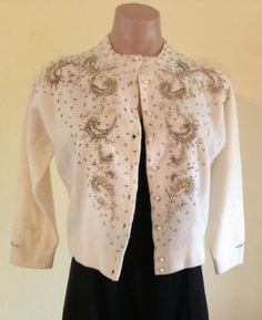 Fabulous Vintage 50's Beaded Cardigan Sweater Gold Silver Floral Beading Size 38 | eBay