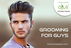 Grooming for guys. Book your appointment now. Call us on: 9689924211 or visit our website www.olivespalon.com