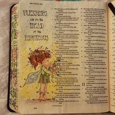 Blessings are on the head of the righteous! Proverbs 10:6 Thought this little whimsical girl with her crown of flowers was the embodiment of blessings being on our heads! Have a great week friends! #illuminatedjournaling #illustratedfaith #blessed