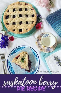 It just isn't summer without a slice of Saskatoon berry pie! This easy dessert recipe has a traditional crust, loads of saskatoon berries (or blueberries) filling, and just a hint of lemon. Summer Dessert Recipes, Fruit Recipes, Easy Desserts, Snack Recipes, Appetizer Recipes, Vegetable Recipes, Pie Recipes, Saskatoon Berry Recipe, Saskatoon Recipes