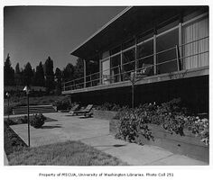 Sevener residence exterior showing patio, Seattle, 1953