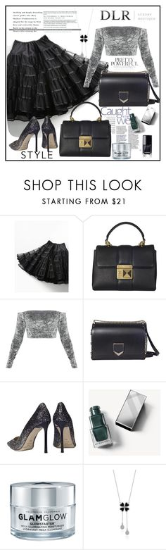 """""""DLRBOUTIQUE.COM"""" by lila2510 ❤ liked on Polyvore featuring Free People, Sonia Rykiel, Jimmy Choo, Burberry, GlamGlow, DLRLuxuryBoutique and dlrboutique"""