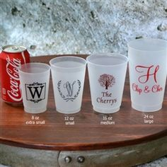 Personalized Shatterproof Cups - pretty cheap wedding favor!