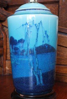 """V Fine Large Antique ROOKWOOD 1917 ARTHUR P CONANT 10"""" Blue Asian Theme Lamp"""