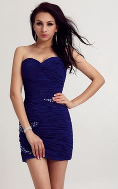 Evermiss 1025 Short Strapless Ruched Blue Tight Prom Dress