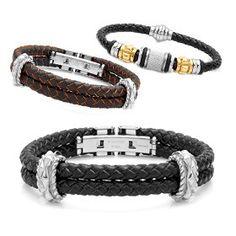 Genuine Leather & Stainless Steel Men's Bracelet - Assorted Styles