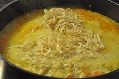 Kyllingesuppe med karry, løg, nudler og kokosmælk