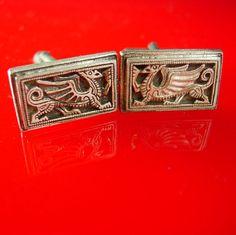 Vintage Dragon Cufflinks Silver Oriental by NeatstuffAntiques