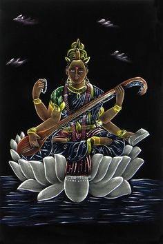 Saraswati - Goddess of Music and Knowledge (Painting on Velvet Cloth - Unframed)
