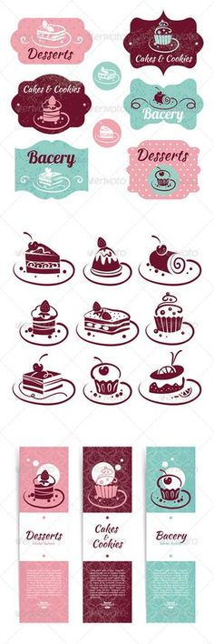 Sweet Collection #GraphicRiver Collection includes sweet set of cake icons, frames and banners.