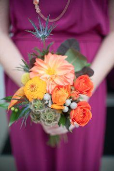AK Brides - Wedding Planning Services;  Fall color bridesmaids bouquet;  Hot House Design Studio;  Stacy Richardson Photography