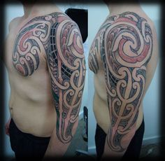 Custom-New-Zealand-Maori-Ta-Moko-Kirituhi-Pacific-Tribal-Three-Quarter-34-Sleeve-with-Red-Detailing-an-Paua-Fill-Tattoo-Design_tattoo-gallery.jpg 920×900 pixels