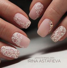Bridal Nail Art Designs for Women in 2019 Page 15 of 20 Fashion wedding nails Bridal Nails Designs, Bridal Nail Art, Fall Nail Art Designs, Wedding Nails Design, White Nail Designs, Lace Nail Design, Elegant Bridal Nails, Vintage Wedding Nails, Wedding Nails For Bride