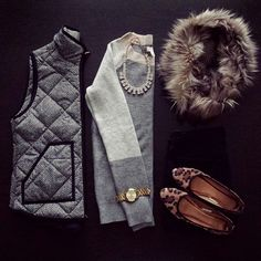 herringbone vest, neutral swear, faux fur and leopard | kristina_bor on instagram