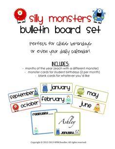Classroom birthdays bulletin board set - monster themed. Super cute!