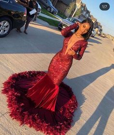 Looking for Prom Dresses,Evening Dresses in Sequined, Mermaid style, and Gorgeous Beading,Feathers work? Babyonlinewholesale has all covered on this elegant Burgundy V-neck Long sleeve Sequined Mermaid Velvet Fur Prom Dresses. Black Girl Prom Dresses, African Prom Dresses, Senior Prom Dresses, Pretty Prom Dresses, Prom Outfits, Mermaid Prom Dresses, Prom Dresses Long Sleeve, Red Mermaid Dress, Lavender Prom Dresses