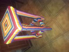 Banco de madera Con funda de crochet