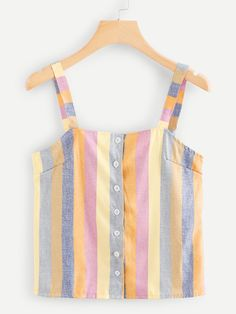 SHEIN offers Single Breasted Striped Cami Top & more to fit your fashionable needs. Fashion News, Girl Fashion, Fashion Outfits, Striped Cami Tops, Korean Fashion, Winter Outfits, Cute Outfits, Couture, Clothes