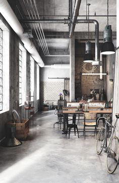 Dumbfounding Useful Ideas: Industrial Space Bachelor Pads tiny industrial home.Tiny Industrial Home. Loft Industrial, Industrial Design Furniture, Rustic Industrial Decor, Industrial Living, Industrial Interiors, Industrial Workspace, Industrial Bookshelf, Industrial Windows, Industrial Restaurant