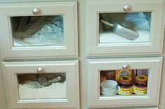 I want these drawers in my kitchen !!  No more bags of flour or sugar, just dump it in a drawer