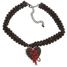 Black And Red Heart Spike Choker | Hot Topic ❤ liked on Polyvore featuring jewelry
