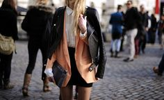 leather jacket over blazer