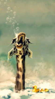 artwork for above toilet -The Bath Art Print- CLS Animals And Pets, Baby Animals, Funny Animals, Cute Animals, Giraffe Art, Cute Giraffe, Baby Giraffes, Giraffe Pictures, Animal Pictures