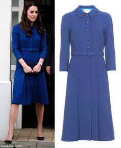 hrhduchesskate:  Anna Freud Centre and Child Bereavement UK Centre, January 11, 2017-Duchess of Cambridge in a royal blue Eponine London coatdress