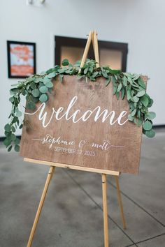 greenery eucalyptus wooden welcome wedding sign