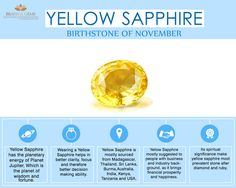 Yellow Sapphire, a November gemstone represents the positive powers of planet Jupiter and you can check out its benefits and healing effects through this infographic below. #gemstones #gems #yellowsapphire #novemberbirthstone