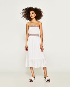 ZARA - WOMAN - OFF-THE-SHOULDER DRESS WITH CONTRASTING EMBROIDERY