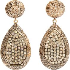 Ileana Makri Champagne Diamond Gem Teardrop Earrings ($19,765) ❤ liked on Polyvore