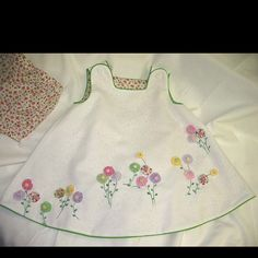 Yo-Yo Flower Garden Dress & Bloomers by Ms. Toddler Dress, Toddler Outfits, Baby Dress, Kids Outfits, Little Dresses, Little Girl Dresses, Little Girls, Sewing For Kids, Baby Sewing