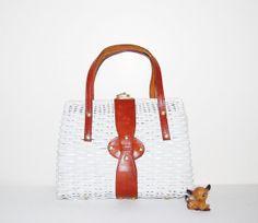 Vintage Handbag  White with English Leather by CheekyVintageCloset, $22.00