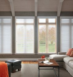 Bali® Wood Images 2 Faux Wood Blinds - are great for blocking out light in the for family movie nights. Large Window Treatments, Bathroom Window Treatments, Window Treatments Living Room, Living Room Windows, House Windows, Blinds For Windows, Window Coverings, Window Blinds, Bay Window