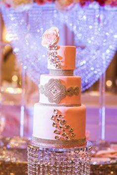 Pink glam wedding cake -  Judah Avenue