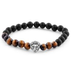 * Onyx and red tiger's eye mix * Elegant lion's head motif * Strong elastic band Bracelet Cuir, Pearl Bracelet, Bracelet Set, Bracelet Making, Cute Bracelets, Bracelets For Men, Beaded Bracelets, Diy Jewelry Making, Bracelets