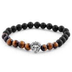* Onyx and red tiger's eye mix * Elegant lion's head motif * Strong elastic band Skull Bracelet, Bracelet Cuir, Bracelet Making, Bracelet Set, Cute Bracelets, Bracelets For Men, Beaded Bracelets, Diy Jewelry Making, Pocket Squares