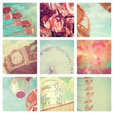 Carnival Photographs, Set of 9, 4x6 photos, vintage circus, shabby chic nursery decor, fPOE, ferris wheel, carousel, soft pastel color, via Etsy.