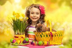 Holidays Easter Rabbits Daffodils Little girls Eggs Wicker basket Children
